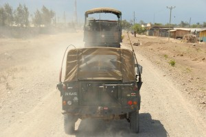 Kenyan military moving north; photo by Andre Vltchek
