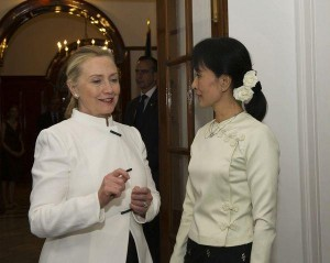 Hillary Clinton talking with Aung San Suu Kyi.