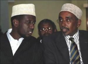 President Sharif Sheikh Ahmed (left) confers with Speaker Sharif Hassan Sheikh Aden