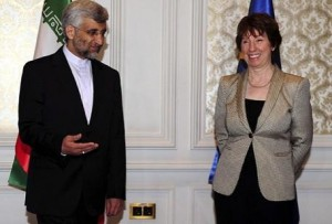 Iran's chief nuclear negotiator Saeed Jalili and European Union Foreign Policy Chief Catherine Ashton