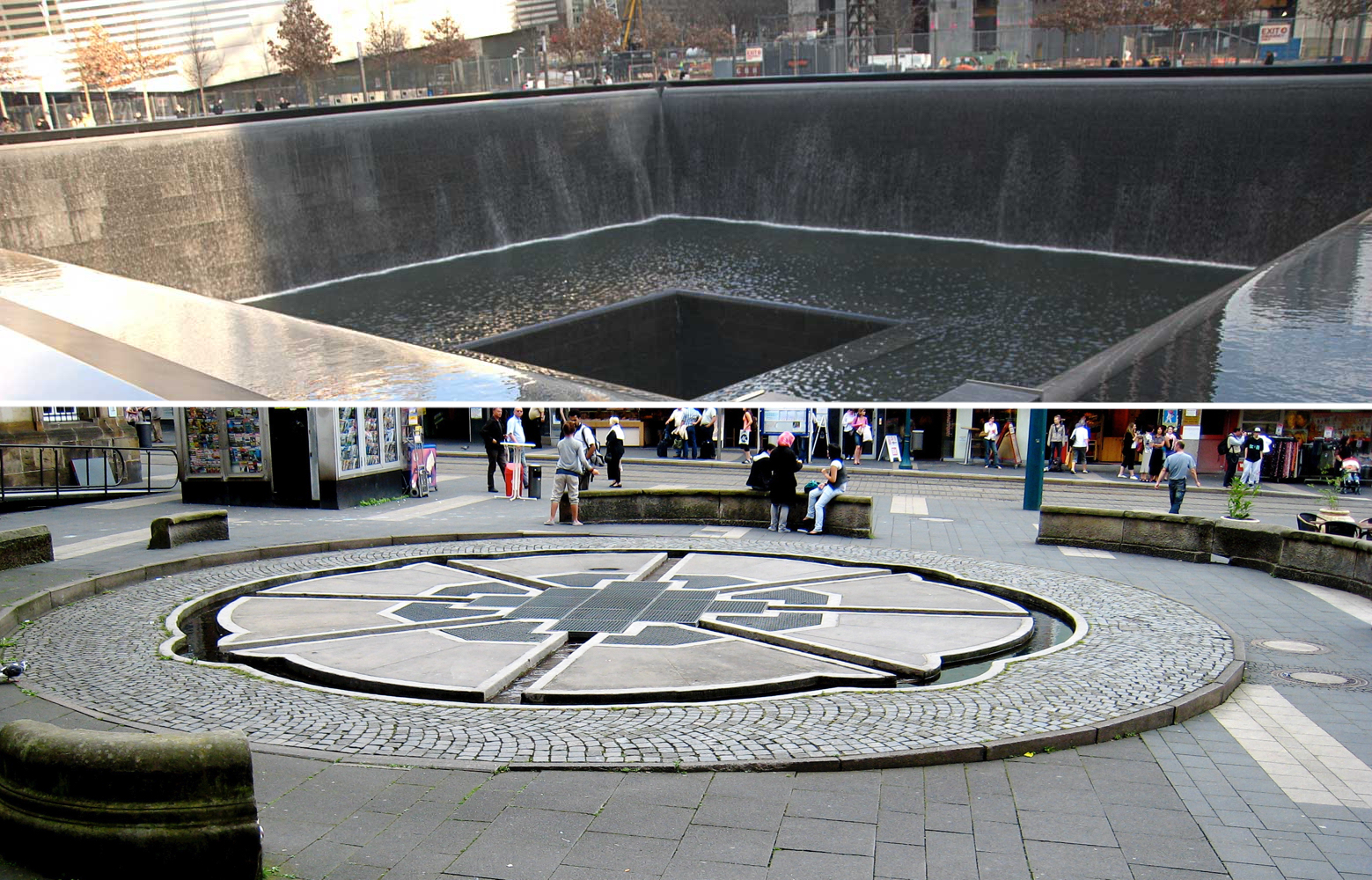 Top: The 9/11 memorial in New York (Photo: Mitchell Zimmerman). Bottom: The Kassel Fountain memorial in Kassel, Germany. (Photo: Horst Hoheisel)