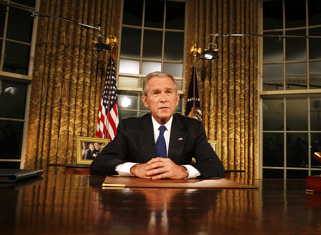 President George W. Bush addresses the nation about the Iraq war. (Getty)